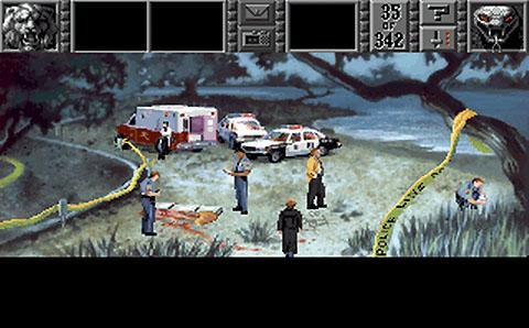 Žmogžudystė Gabriel Knight (1993 m.) žaidime. Grafika gali pasirodyti prasta, bet svarbiausia - siužetas. Vėlesnių serijos žaidimų ir grafika buvo geresnė.